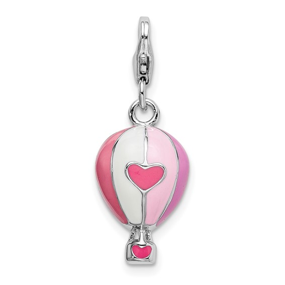 Sterling Silver 3-D Enameled Hot Air Balloon with Lobster Clasp Charm