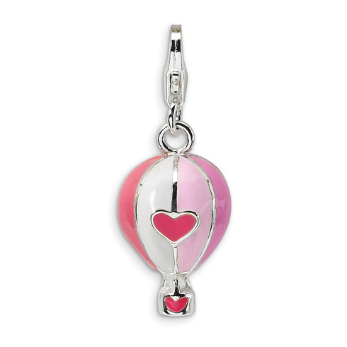 Sterling Silver 3-D Enameled Hot Air Balloon Charm