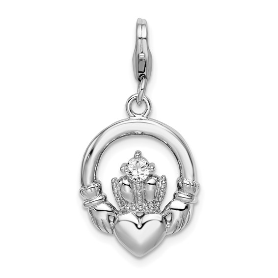 Sterling Silver CZ Claddagh with Lobster Clasp Charm