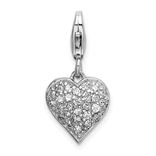Sterling Silver Reversible CZ and Red Enamel Heart Charm