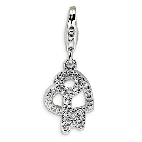 Sterling Silver CZ Heart and Key with Lobster Clasp Charm