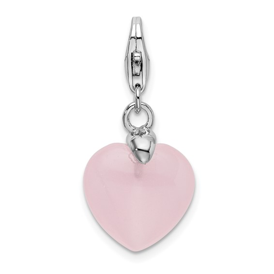 Sterling Silver Rose Quartz Heart with Lobster Clasp Charm