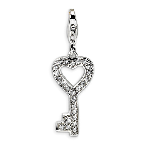 Sterling Silver CZ Key Charm with Lobster Clasp