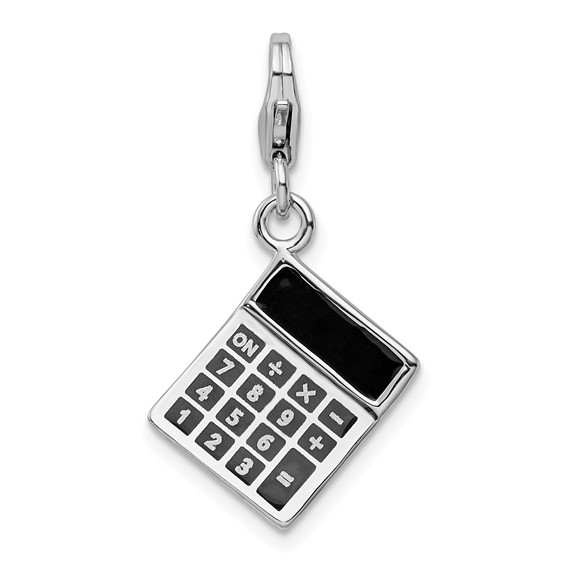 Sterling Silver 3-D Enameled Calculator Charm with Clasp