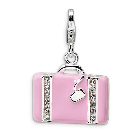 Sterling Silver Swarovski Crystal Laptop Bag with Lobster Clasp Charm