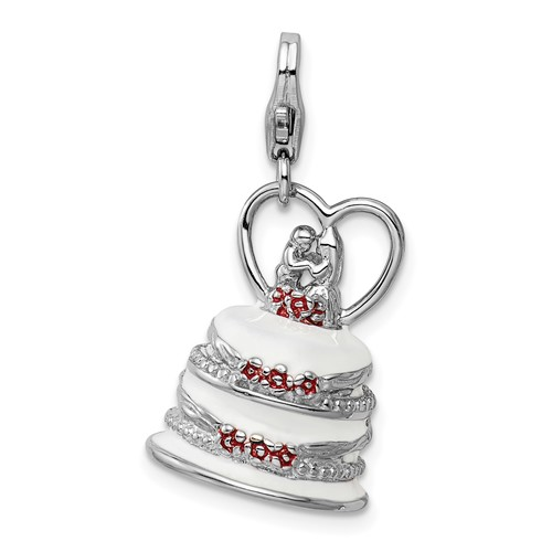 Sterling Silver 3-D Enameled Wedding Cake with Lobster Clasp Charm
