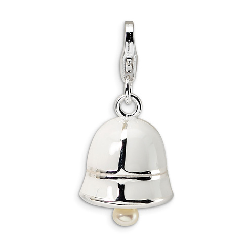 Sterling Silver Cultured Pearl White Enamel Bell Charm