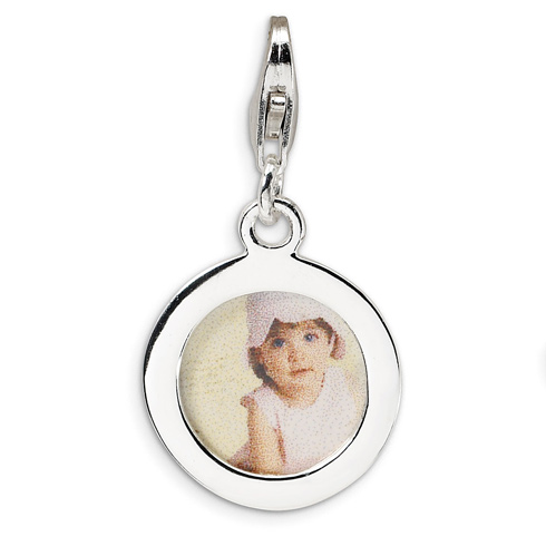 Sterling Silver Circle Frame with Lobster Clasp Charm