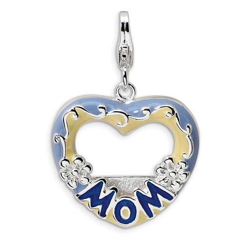 Sterling Silver 2-D Blue Enameled Mom Photo with Lobster Clasp Charm