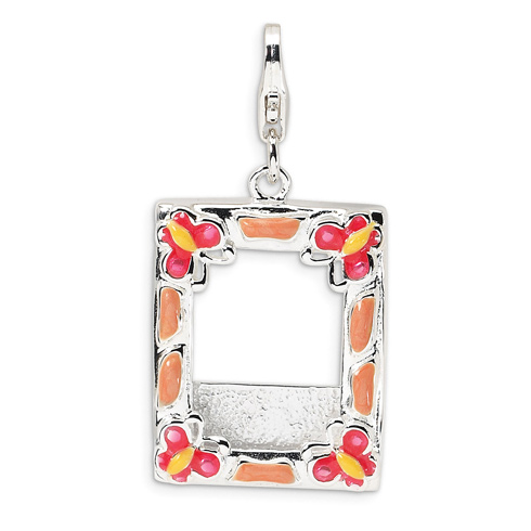 Sterling Silver 3-D Enameled Photo Frame with Lobster Clasp Charm