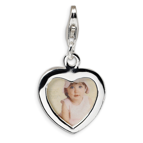 Sterling Silver Heart Frame with Lobster Clasp Charm
