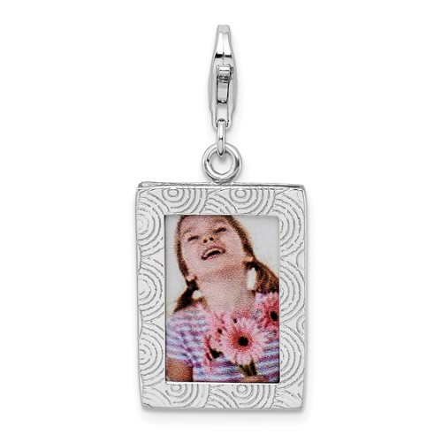 Sterling Silver Picture Frame with Lobster Clasp Charm