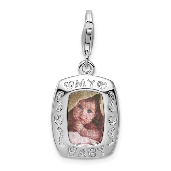 Sterling Silver My Baby Frame Charm with Lobster Clasp