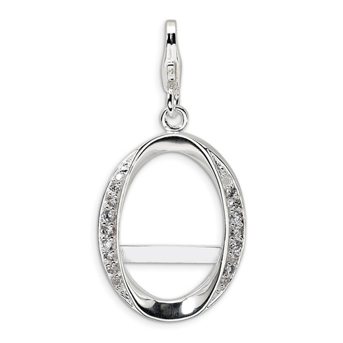 Sterling Silver CZ Oval Photo with Lobster Clasp Charm