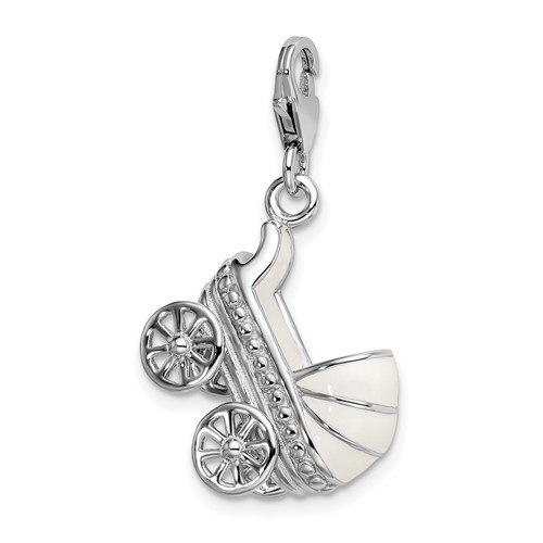 Sterling Silver 3-D Enameled Baby Carriage Charm with Clasp