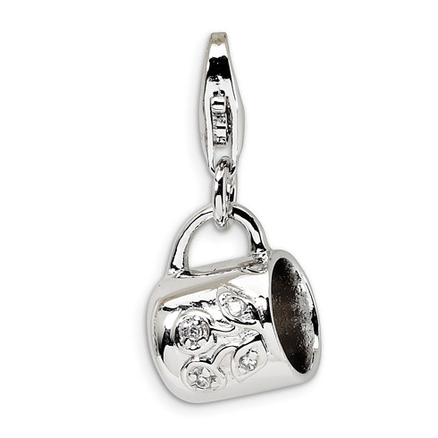 Sterling Silver CZ Baby Cup with Lobster Clasp Charm