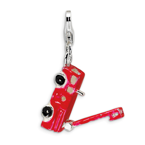 Sterling Silver Enamel Fire Truck with Lobster Clasp Charm