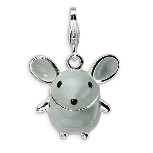 Sterling Silver 3-D Enameled Grey Mouse Charm with Clasp