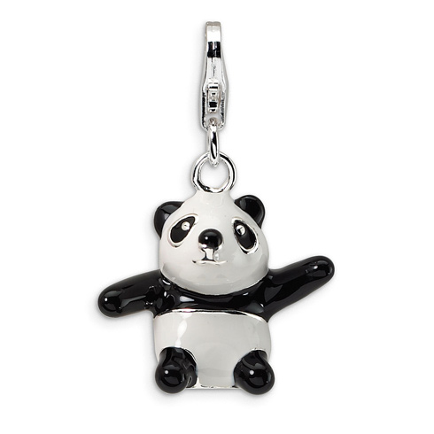 Sterling Silver 3-D Enameled Panda Charm with Lobster Clasp