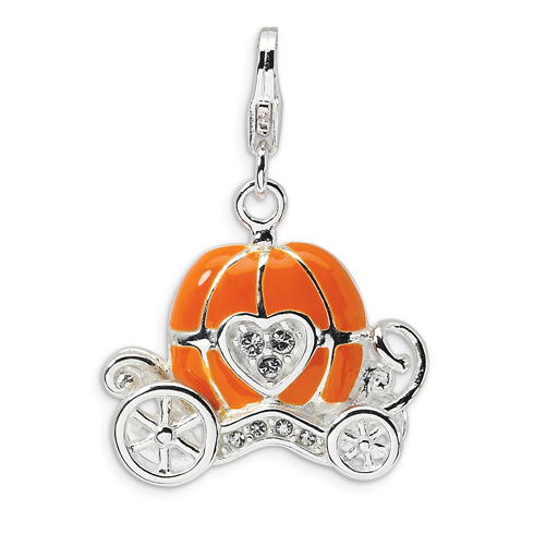 Sterling Silver 3-D Enameled Carriage with Lobster Clasp Charm
