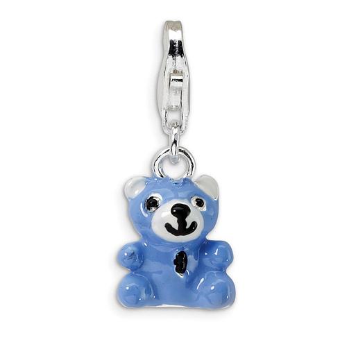 Sterling Silver Blue Enamel Teddy Bear with Lobster Clasp Charm