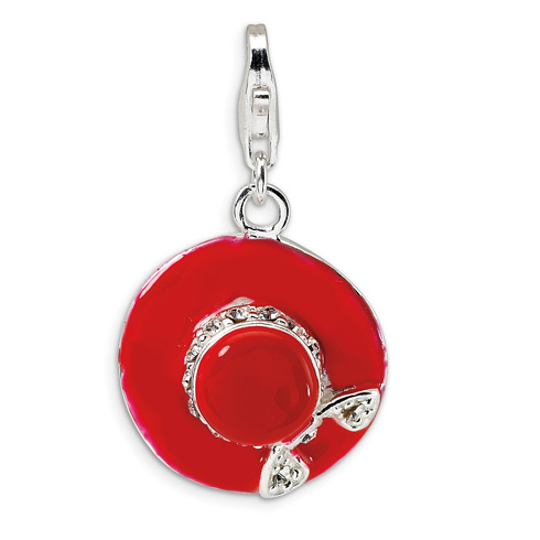 Sterling Silver CZ Enamel Hat with Lobster Clasp Charm