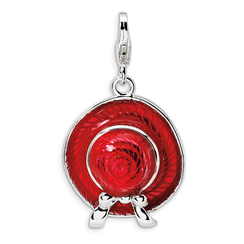 Sterling Silver 3-D Enameled Red Hat with Lobster Clasp Charm