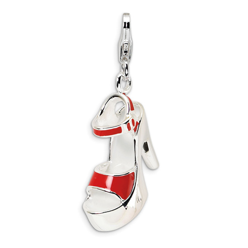 Sterling Silver Enameled Red Platform High Heel with Clasp Charm