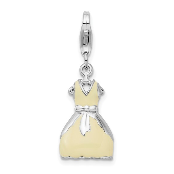 Sterling Silver 3-D Enameled Dress with Lobster Clasp Charm