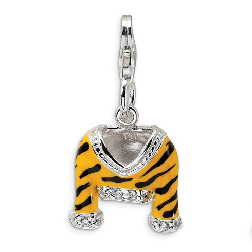 Sterling Silver CZ Enamel Tiger Jacket with Lobster Clasp Charm