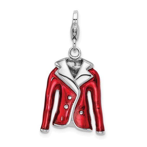 Sterling Silver 3-D Enameled Red Jacket with Lobster Clasp Charm
