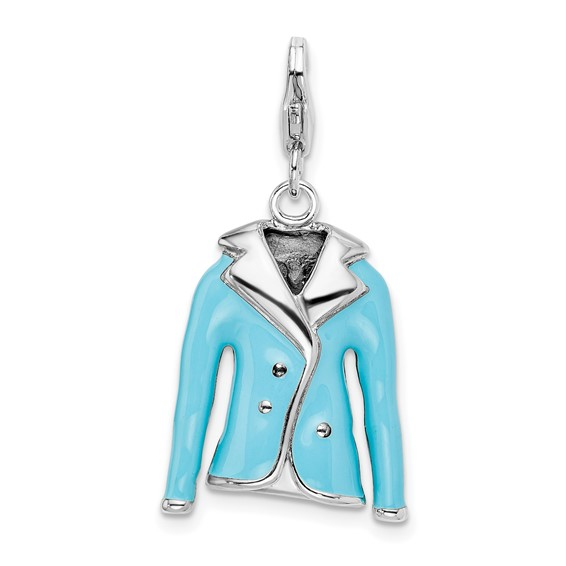 Sterling Silver 3-D Enameled Blue Jacket with Lobster Clasp Charm