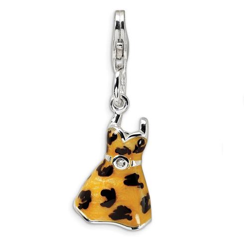 Sterling Silver CZ Polished Enameled Leopard Dress Charm