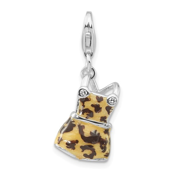 Sterling Silver CZ Black & Yellow Enameled Overall Charm
