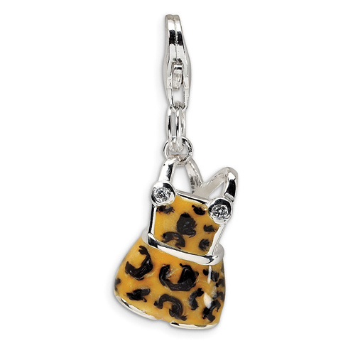 Sterling Silver CZ Black & Yellow Enameled Overall with Lobster Clasp Charm