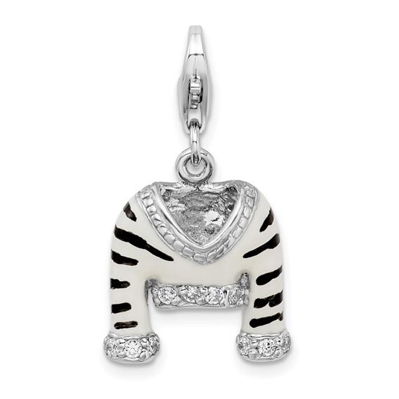 Sterling Silver CZ Polished Enamel Zebra Jacket Charm