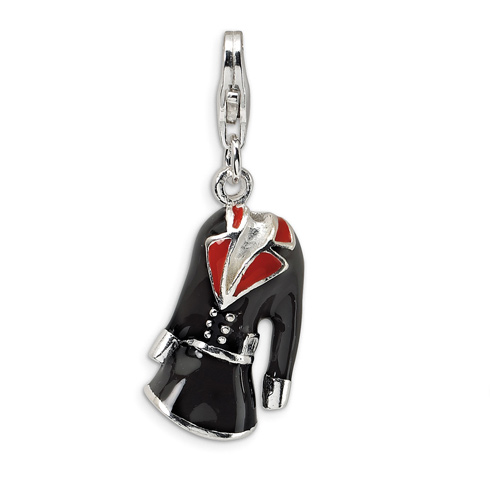 Sterling Silver 3-D Black & Red Enameled Coat with Lobster Clasp Charm