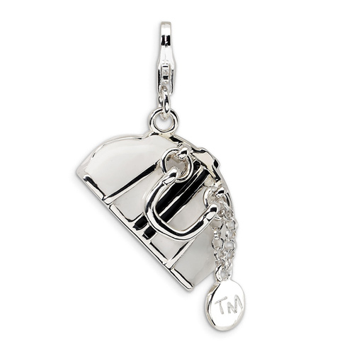 Sterling Silver 3-D Enameled Purse with Lobster Clasp Charm