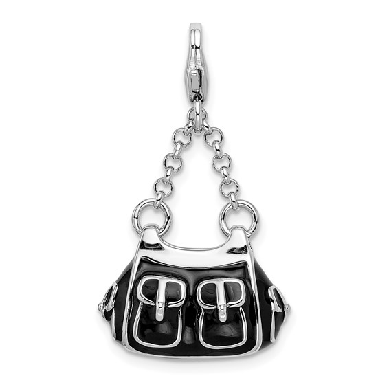 Sterling Silver 3-D Enameled Black Handbag with Lobster Clasp Charm