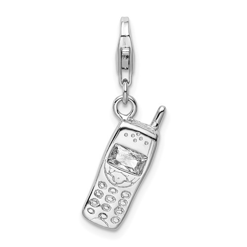 Sterling Silver Cell Phone with Lobster Clasp Charm