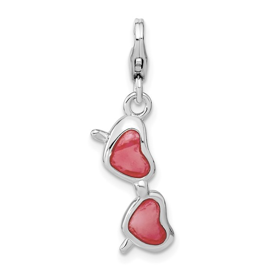 Sterling Silver Enameled Coral Heart Sunglasses with Lobster Clasp Charm
