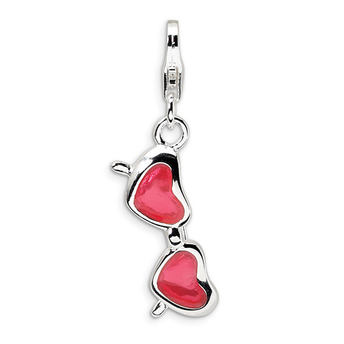 Sterling Silver Enameled Coral Heart Sunglasses Charm