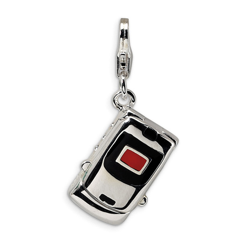 Sterling Silver Enamel Swarovski Crystal Cell Phone with Lobster Charm