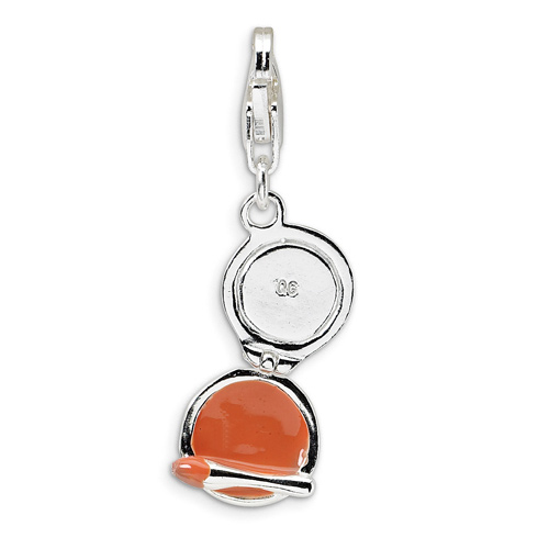 Sterling Silver Enamel Compact Makeup Mirror with Lobster Clasp Charm