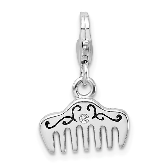 Sterling Silver Swarovski Crystal & Enamel Comb with Lobster Clasp Charm