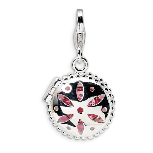 Sterling Silver Swarovski Crystal & Enamel Compact with Lobster Clasp Charm