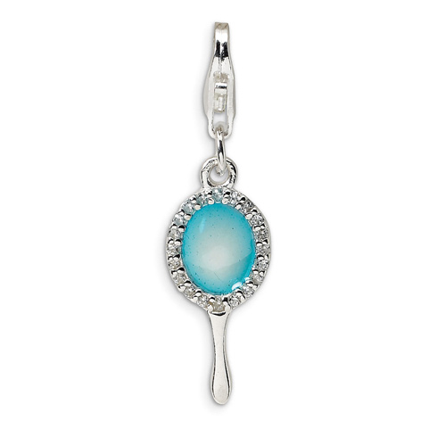 Sterling Silver Enameled & CZ Hand Mirror with Lobster Clasp Charm