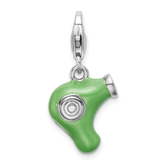 Sterling Silver Green Enameled Hair Dryer Charm