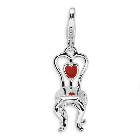 Sterling Silver 3-D Enameled Chair with Heart with Lobster Clasp Charm