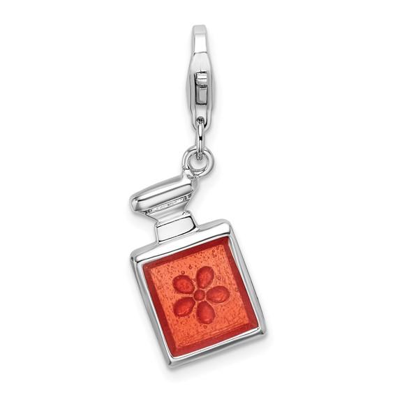 Sterling Silver 3-D Orange Enamel Perfume Bottle Charm